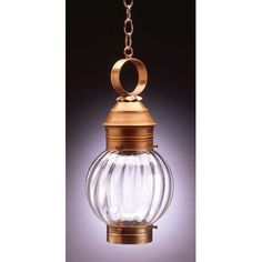 Northeast Lantern Onion 1 Light Outdoor Hanging Lantern Finish: Antique Copper, Shade Type: Optic