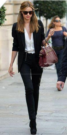 Black Double Zipper Biker Skinny Pants. As seen on Miranda Kerr