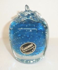 Vintage KANAWHA BLUE Paperweight Hand Crafted Controlled Bubble Paneled Glass #Kanawha