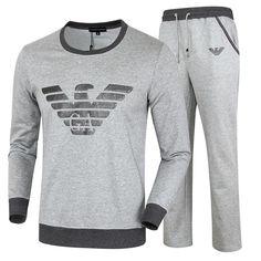 9299faa32c91 Replica Emporio Armani Men Sport Suit Brand Slim Fit Hooded Top+Full Pant  Casual Tracksuit Hoody Sportwear Men Sweatshirt Set