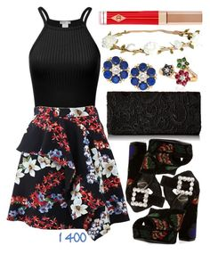 """""""Over 1400 Members In The Group: Cute Florals"""" by deedee-pekarik ❤ liked on Polyvore featuring MSGM, Roger Vivier, Belk & Co., H&M and Charlotte Tilbury"""