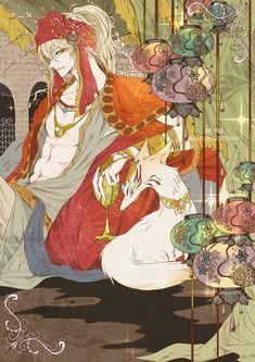 "Kogitsunemaru ""#刀剣男士アラビアン企画 最終日ですね;;;『小狐丸』を担当させて頂きました>< 本当に素敵な企画を有難うございます。 毎日拝み倒して拝見していました>< 主催者様、お疲れ様でした!!!"" Anime Fantasy, Fantasy Art, Character Illustration, Illustration Art, Mononoke Anime, Anime Boy Sketch, Anime Cover Photo, Shall We Date, Character Design Inspiration"
