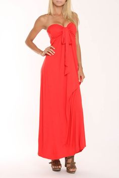 S.H.E. Mia Convertible Halter Maxi Dress In Tangerine Solid - Beyond the Rack
