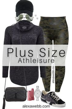 Plus Size Camo Athleisure Outfit with Faux Leather Leggings, a Tunic Sweatshirt and Sneakers - Alexa Webb #alexawebb #plussize Casual Fall Outfits, Cool Outfits, Camo Leggings Outfit, Plus Size Beach Outfits, Oversized Aviator Sunglasses, Spanx Faux Leather Leggings, Wardrobe Makeover, Athleisure Outfits, Sporty Look