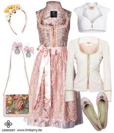 Dirndl Viktoria von AlpenHerz in Sandtönen perfektioniert mit den Farben weiss-rosa