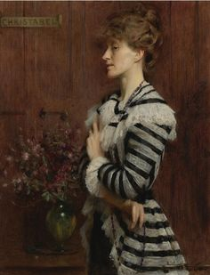 "Portrait of Christabel Cockerell, Lady Frampton (1900). Arthur Hacker, R.A. (English, 1858-1919). Oil on canvas. ""Though shown in profile, she seems aware of the spectator's presence. She is wearing a dramatically striped dress with lace trimmings and an overskirt, taking up the vogue for eighteenth century fashions which were undergoing revival."" (Kenneth McConkey, Edwardian Portraits - Images of an Age of Opulence)."