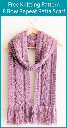 Free Knitting Pattern for 8 Row Repeat Retta Scarf - This easy cable scarf featu. Free Knitting Pattern for 8 Row Repeat Retta Scarf - This easy cable scarf features an 8 row repeat pattern that include. Easy Scarf Knitting Patterns, Easy Knitting Projects, Knitting For Beginners, Knitting Designs, Knit Patterns, Free Knitting, Knitting Kits, Finger Knitting, Knitting Machine