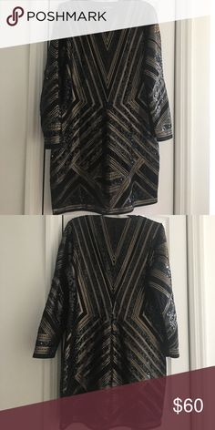 Black sequins dress Great fit excellent condition worn once Express Dresses Long Sleeve