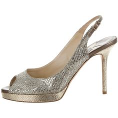 Pre-owned Jimmy Choo Glitter Slingback Pumps ($145) ❤ liked on Polyvore featuring shoes, pumps, silver, silver slingback shoes, slingback peep toe pumps, silver slingback pumps, peep toe slingback and jimmy choo shoes