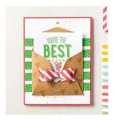"You're the Best Card (4-1/4"" x 5-1/2"") Friendly Wishes Stamp Set Kraft Cardstock Watermelon Wonder Cardstock Whisper White Cardstock 2015-2017 In Color Designer Series Paper Cucumber Crush Classic Stampin' Pad Delightful Dijon Classic Stampin' Pad Watermelon Wonder Classic Stampin' Pad VersaMark Pad Tea Lace Paper Doilies  Cherry on Top Washi Tape Stampin' Dimensionals Bow Builder Punch Big Shot Gift Card Envelope&Trims Thinlits Dies Stampin' Spritzer"