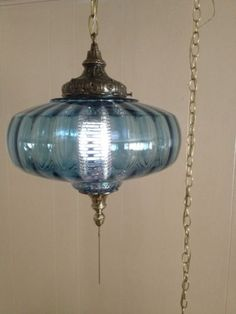 Perfekt Blue Optic Glass Swag Lamp Light Mid Century Hollywood Regency Danish Modern