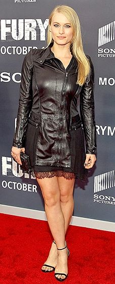 Leven Rambin worked a leather and lace look paired with black strappy sandals.