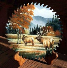 """Elk View"" Sold -painted sawblades Painted sawblades, Crosscut saws, Painted handsaws - Original paintings on Sawblades and Crosscut Saws"