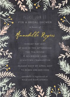 appealing painterly floral bride botanical chalkboard walmart bridal shower invitation bridalshower invitation