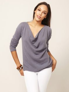 100% Cashmere Cowl Neck Draped Sweater-Cashmere 1873.COM