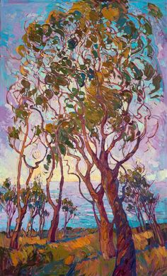 Contemporary expressionist landscape oil painting, by Los Angeles painter Erin Hanson