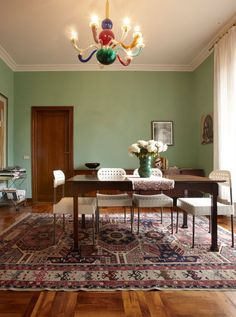 I love the color of this dining room with the natural wood. | Sneak Peek: Olimpia Zagnoli // Design*Spongs