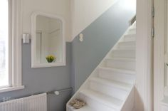 White wooden stairs