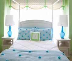 Cool blue and green teen room. Blue Teen Rooms, Green Girls Rooms, Teen Girl Bedrooms, Blue Bedroom, Bedroom Decor, Bedroom Ideas, Bedroom Bed, Dream Bedroom, Bed Room