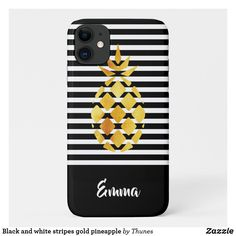 Shop Black and white stripes gold pineapple Case-Mate iPhone case created by Thunes. Iphone 11, Apple Iphone, Iphone Cases, Gold Pineapple, Plastic Case, Black Backgrounds, Christmas Gifts, Stripes, Gift Ideas