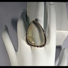 Agate Ring Botswana Agate Ring. Size 7 3/4 Jewelry Rings
