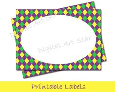 Mardi Gras Printable Labels or Tent Cards - Place Cards, Journal Tags, Scrapbook Tags, Cards, Dessert Table Labels, Stickers - Diamonds