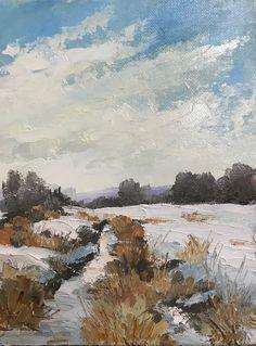 """Daily Paintworks - """"Snowscape"""" - Original Fine Art for Sale - © Bonnie Griffith Painting Snow, Landscape Paintings, Landscapes, Winter Landscape, Fine Art Gallery, Art For Sale, Buy Art, Beautiful Places, Original Paintings"""