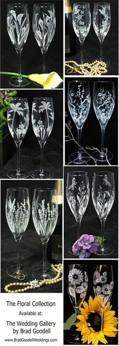 Floral toasting flute collection.   Find champagne flutes for every wedding style. www.BradGoodellWeddings.com