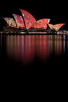 opera house during the current Sydney Smart Light festival,Australia