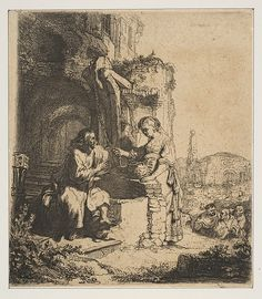 Christ and the Woman of Samaria among Ruins Rembrandt (Rembrandt van Rijn)  (Dutch, Leiden 1606–1669 Amsterdam) Medium: Etching Classification: Prints Credit Line: Harris Brisbane Dick Fund, 1917 Accession Number: 17.3.2390.58