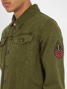 Saint Laurent Badge-appliqué denim jacket Saint Laurent, Embroidered Badges, Military Jacket, Applique, Long Sleeve, Sleeves, Jackets, Coats, Black