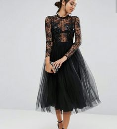 9dc89717d6a ASOS Lace and Embellished Bodice Dress with Mesh Midi Skirt