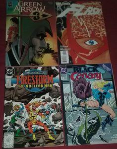 4 DC Comic Books Lot WB Green Arrow Flash FireStorm Black Canary Justice League