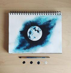 New illustration art dark night skies ideas Art Inspo, Kunst Inspo, Painting Inspiration, Life Inspiration, Galaxy Drawings, Cool Drawings, Painting & Drawing, Moon Painting, Painting Abstract