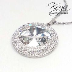 38mm Swarovski Crystal Steel pendant - Surgical Steel Jewelry - sparkle crystal and steel necklace by SteelJewelryShop on Etsy