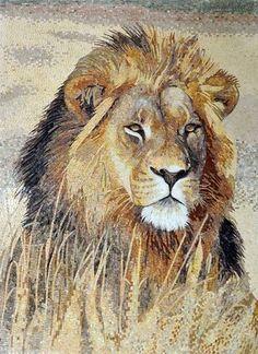 Fierce Look Lion Marble Mosaic Mural: