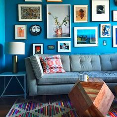 25 BOLD Ways To Do Color In Your Apartment #refinery29  http://www.refinery29.com/colorful-decor#slide-5  Balanced blue feelings in our creative director, Piera's, pad.