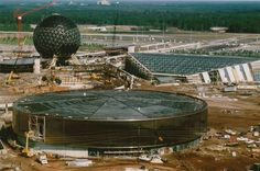 Spaceship Earth, Universe of Energy, World of Motion (Today's Test Track) under construction in 1980-81.