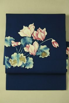 Navy shioze nagoya obi / 紺色塩瀬地 シクラメンの花柄 お太鼓柄名古屋帯   #Kimono #Japan http://global.rakuten.com/en/store/aiyama/