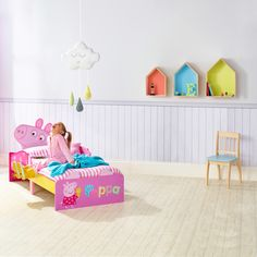 Peppa Pig SnuggleTime Toddler Bed - Say Hello to the perfect kids bedroom. Let your little one fall asleep with their friends by their side in this Peppa Pig SnuggleTime Toddler Bed