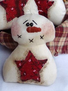 Primitive+Snowman+with+Star+Ornies+or+by+happyvalleyprimitive,+$19.95