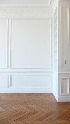 Herringbone floors & white moulding. by rachael