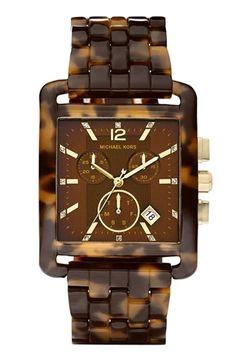 "Nordstrom | Michael Kors 'Eva' Resin Chronograph Watch in ""Tortoise"" - StyleSays"