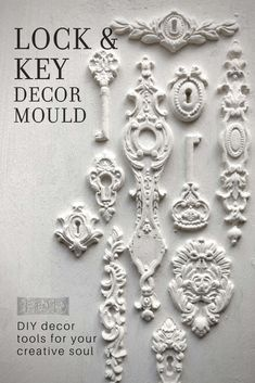 IOD MOULDS FALL 2019 - Iron Orchid Designs - furniture - Adding vintage three-dimensional details to your painted furniture and home decor projects has neve - Diy Furniture Appliques, Diy Bathroom, Iron Orchid Designs, Diy Molding, Air Dry Clay, Decorating Tools, Furniture Makeover, Furniture Ideas, Craft Projects