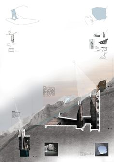 Architecture section rendered in photoshop of the Bridge of Alchemy, Atlas Mountains, Morocco Architecture Design, Architecture Presentation Board, Architecture Panel, Presentation Layout, Architecture Graphics, Architecture Drawings, Landscape Architecture, Landscape Model, Landscape Concept