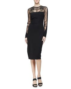 TC9TY David Meister Long-Sleeve Embroidered Jersey Cocktail Dress