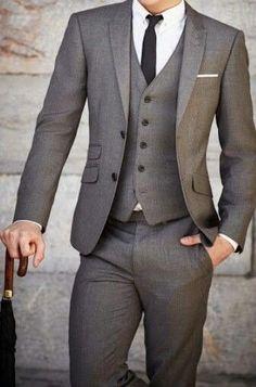 2019 New Mens Wedding Suits Groom Tuxedos Business Suit (Jac.- 2016 New Mens Wedding Suits Groom Tuxedos Business Suit (Jacket+Pants+Vest+Tie) - Mens Fashion Suits, Mens Suits, Grey Suits, Mens 3 Piece Suits, Grey Suit Men, Fashion Vest, Suits 5, Preppy Fashion, Grey Vest