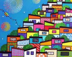 TELA DIPTICA Favelas A 17, Louvre, Arts Plastiques, Frames, Colors, Fabrics, Atelier