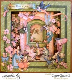 Feb G45 Once Upon a Springtime - 8x8 Spring Shadow Box (with Link to Shadow Box Tutorial) by Clare Charvill; My Creative Spirit
