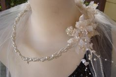 Vintage Bridal Veil Beaded Flower Crown Beautiful For Wearing Repairing or Craft Projects